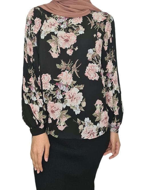 Aria Floral Top Black