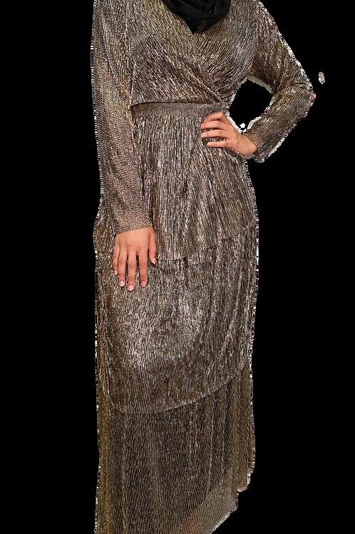Ethereal Shimmer Dress Gold