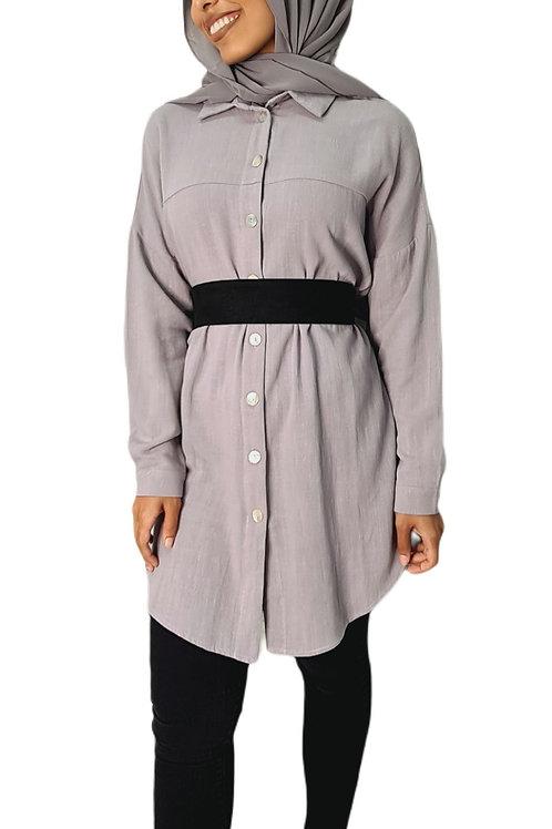 Ava Linen Shirt Grey