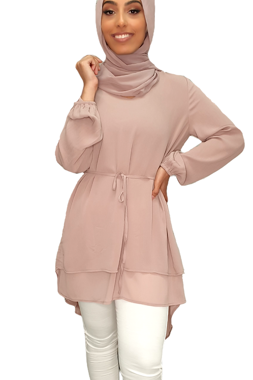 Maya Chiffon Top Blush