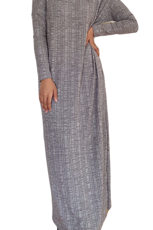 Mina Ribbed Dress Grey