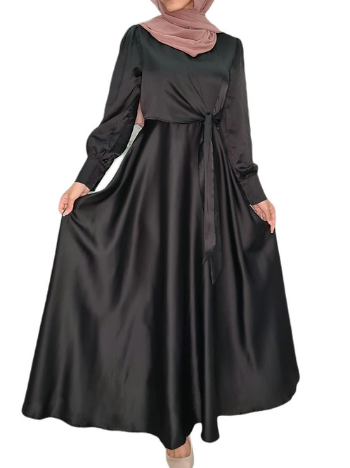 Ameera Silk Dress Black