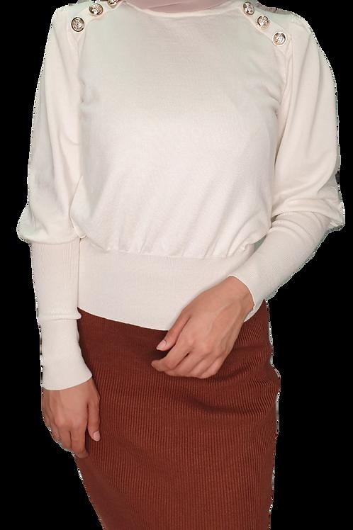 Vera Button Knit White