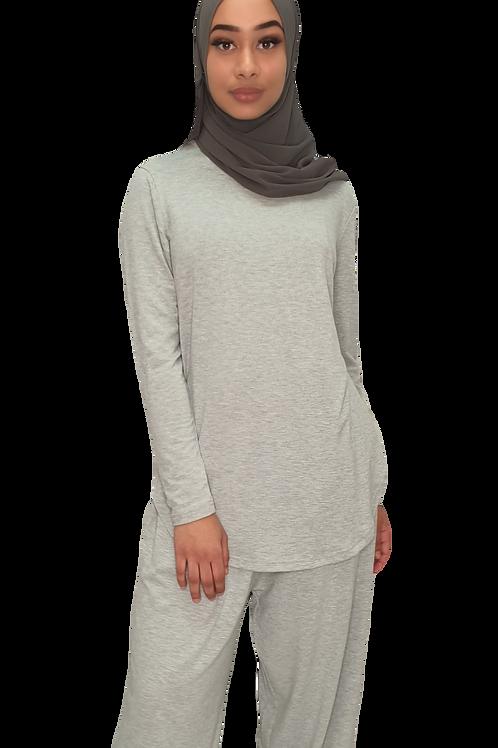 Jersey Cotton Top Light Grey