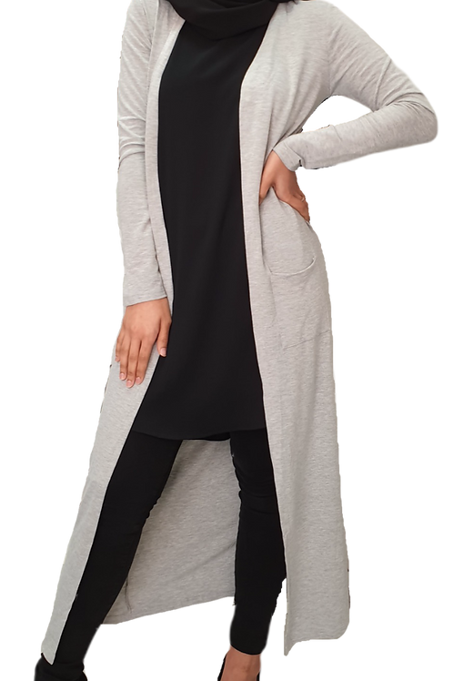 Kayla Maxi Cardi Light Grey