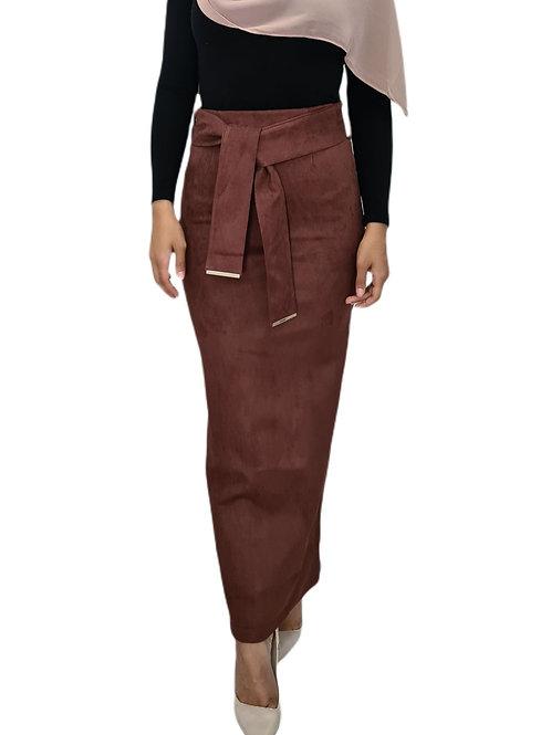 Audrey Suede Skirt Pink Rust