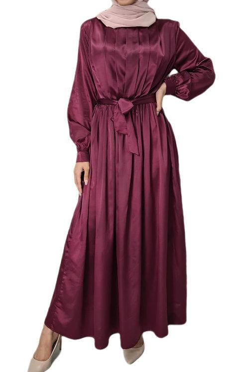 Yasmeen Satin Dress Magenta