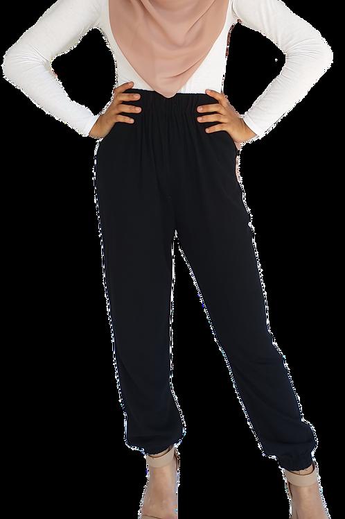 Cuffed Linen Pants Black