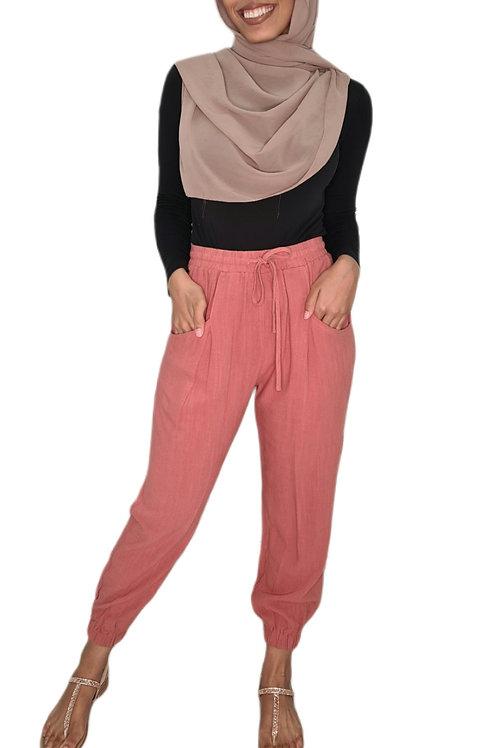 Peach Cuffed Linen Pants