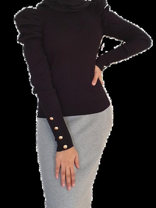 Sia Button Knit Black