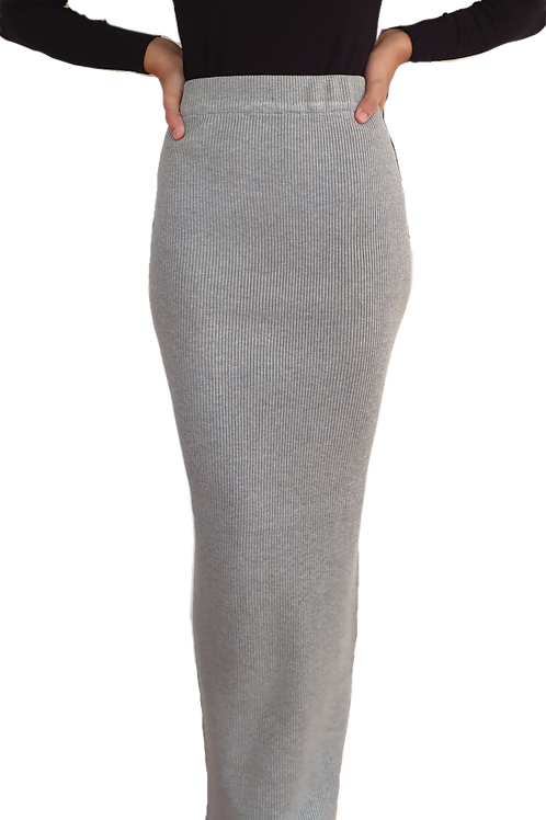 Knit Ribbed Skirt Grey