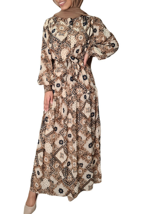 Zoya Maxi Dress Brown