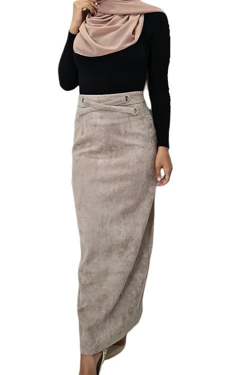 Naomi Suede Skirt Blush