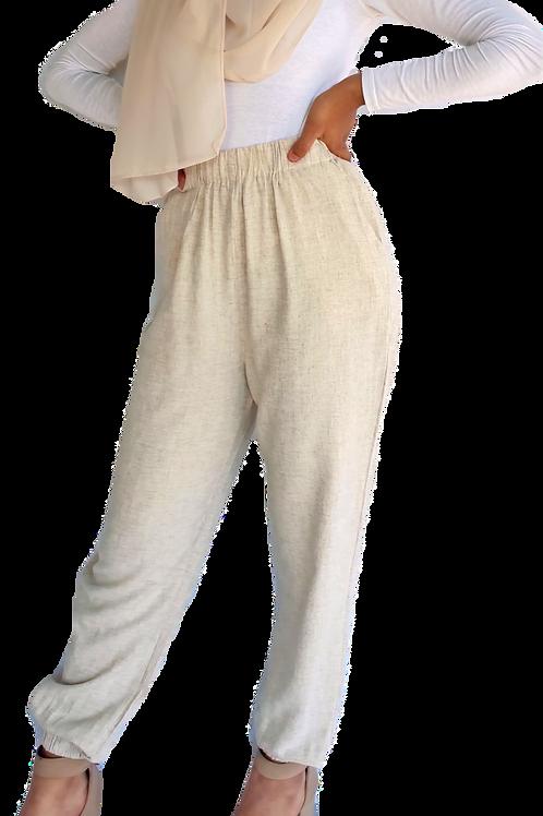 Cuffed Linen Pants Beige
