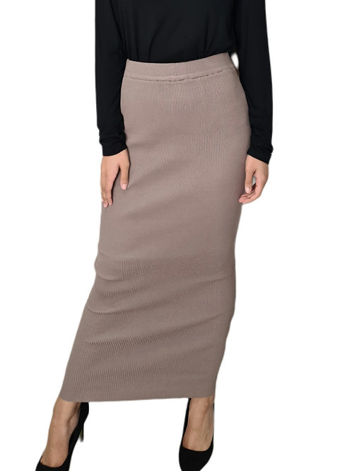Knit Ribbed Skirt Blush
