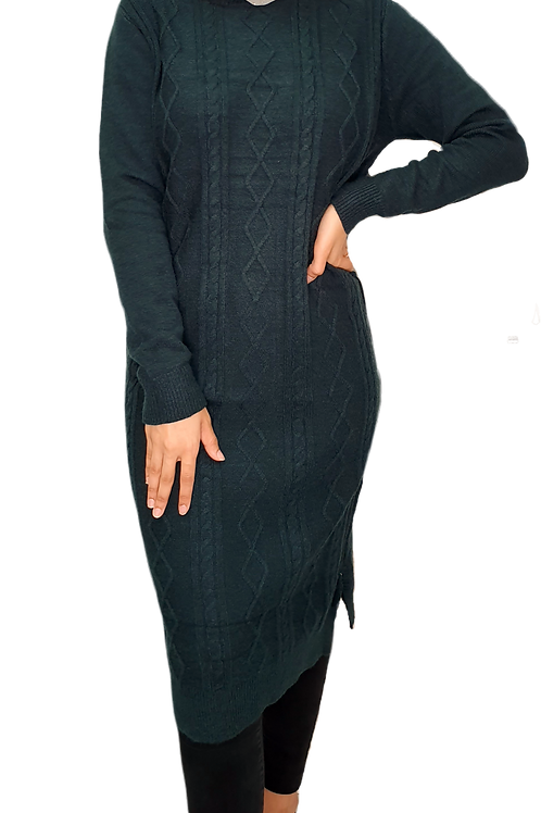 Cable Knit Midi Forrest Green