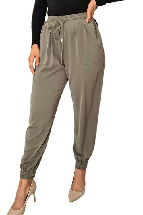 Silky Harem Pants Light Khaki