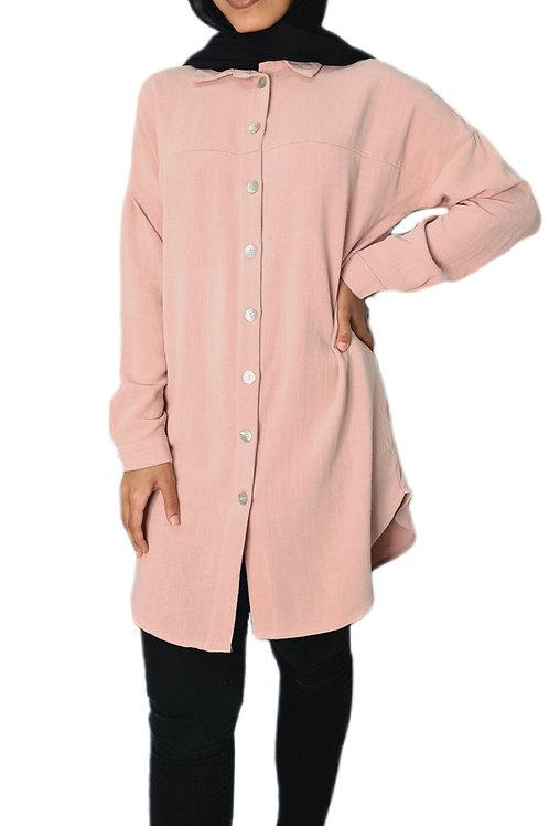 Ava Linen Shirt Pink