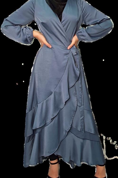 Amelie Ruffle Dress Blue