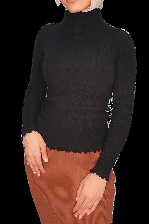 Frill Soft Knit Turtleneck Black