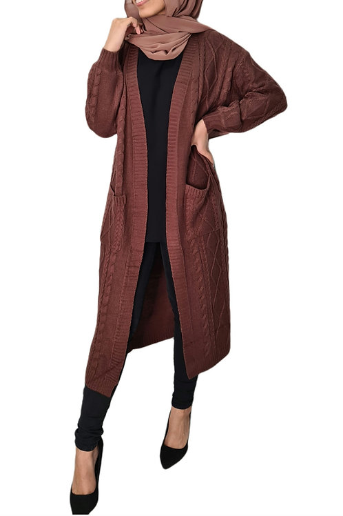 Cable Knit Cardi Rust