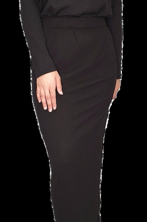 Amara Ribbed Skirt Black