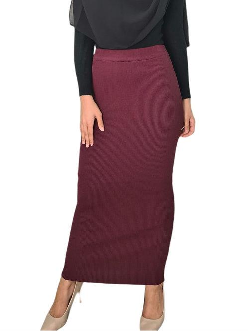 Knit Ribbed Skirt Maroon