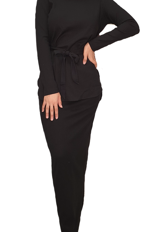 Amara Ribbed Set Black