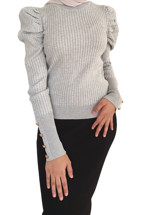 Sia Button Knit Grey