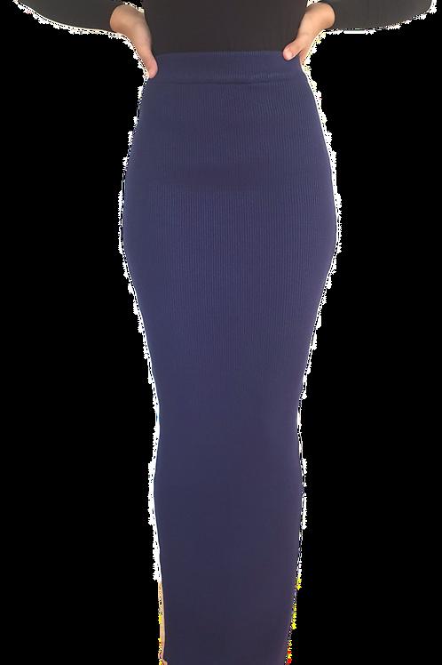 Knit Ribbed Skirt Navy