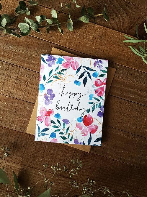 Flowers + Leaves Birthday Card