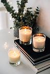 Cozy home interior decor, burning candle