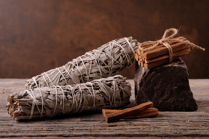 Dried white sage smudge sticks for relax