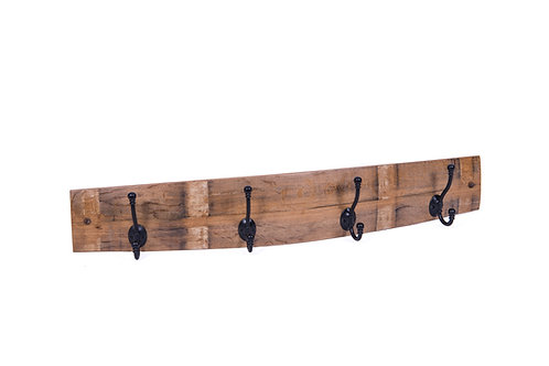 Wine barrel stave coat hanger