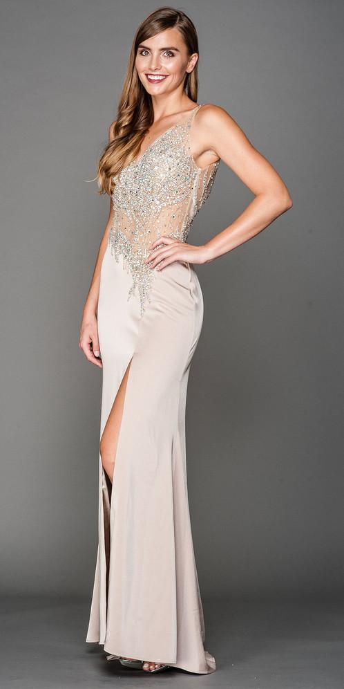 Sheer Bodice Prom Dresses