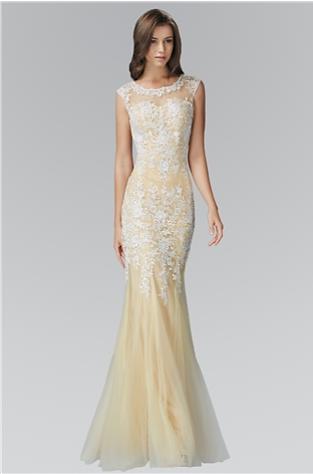 Lace neckline prom dress