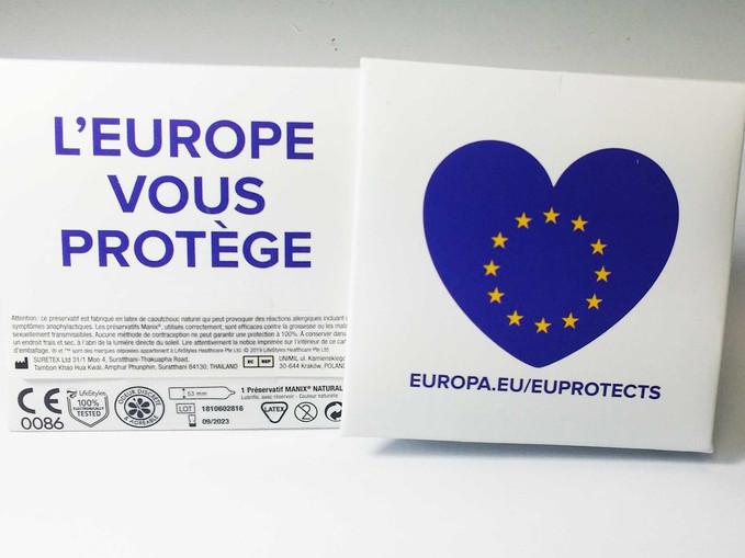 Préservatif personnalisé pour le Parlement Européen