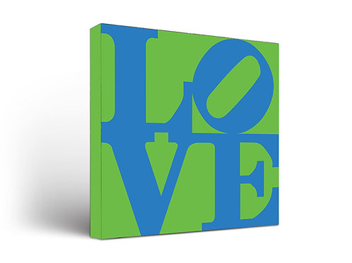 Love Sign Blue on Green