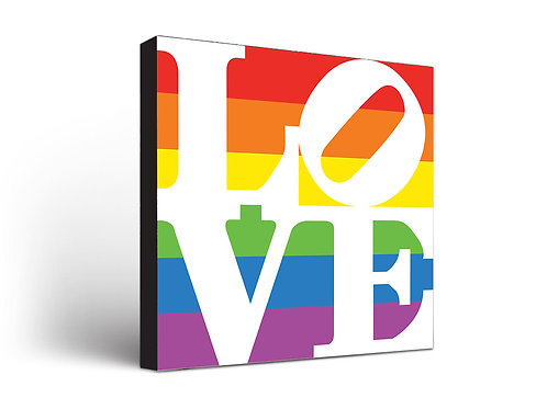 Love Sign White on Rainbow
