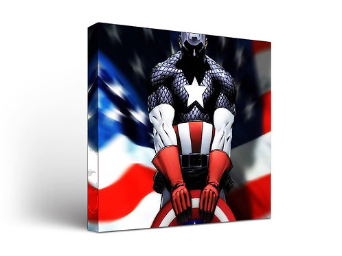 Captain America with American Flag