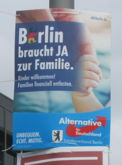 AfD election poster promising support for young families.