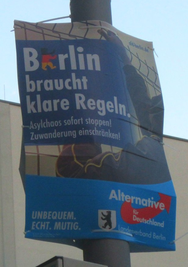 AfD eletions poster against refugees
