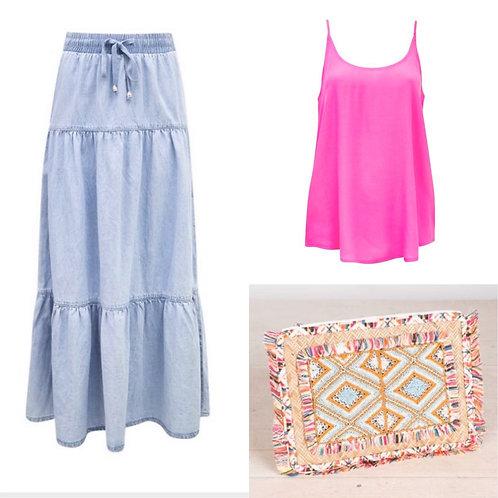 Denim tiered  skirt -SALE-