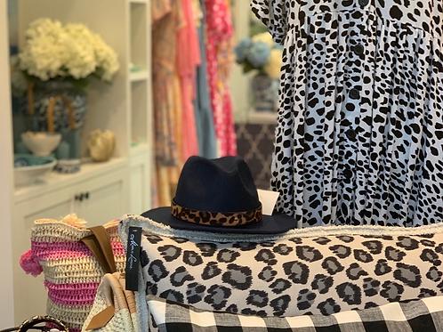 Black and white leopard cushion