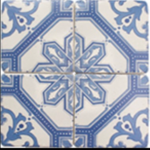Set of 4 coasters blue and white
