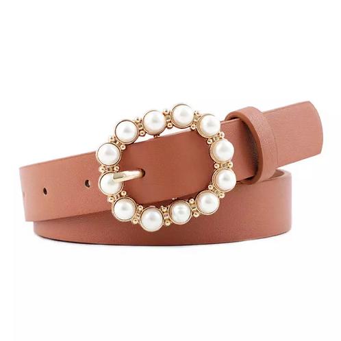 Pearl buckle belt