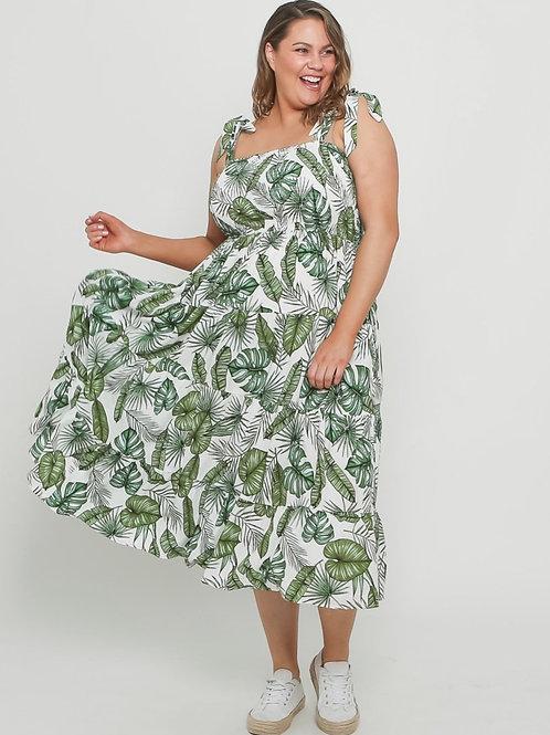 Green palm leaf dress (  curvy)