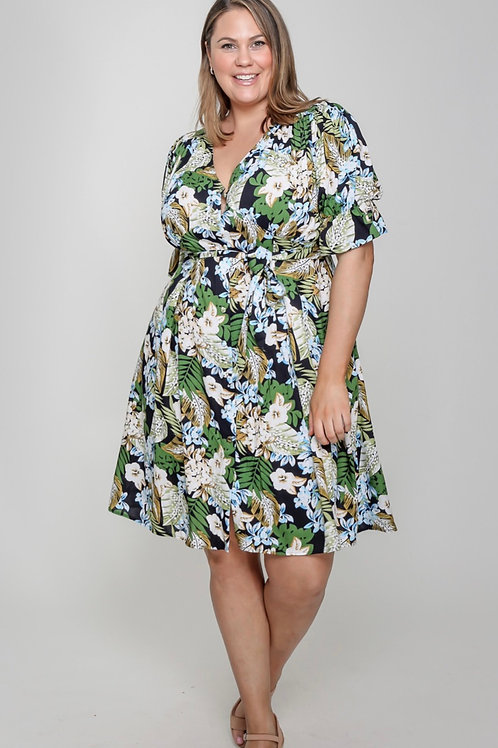 Green and blue floral ( curvy)