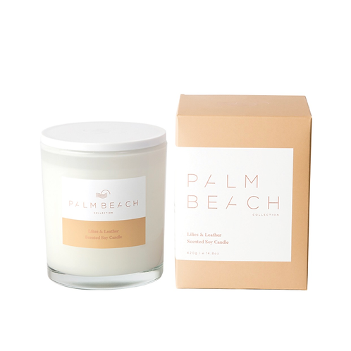 Palm beach lily and leather candle