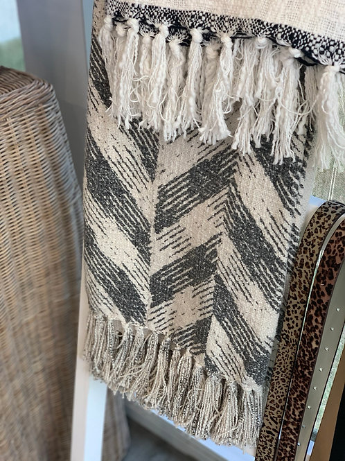 SALE - Grey and white throw